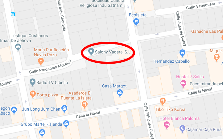 Mapa Salony Vadera SL